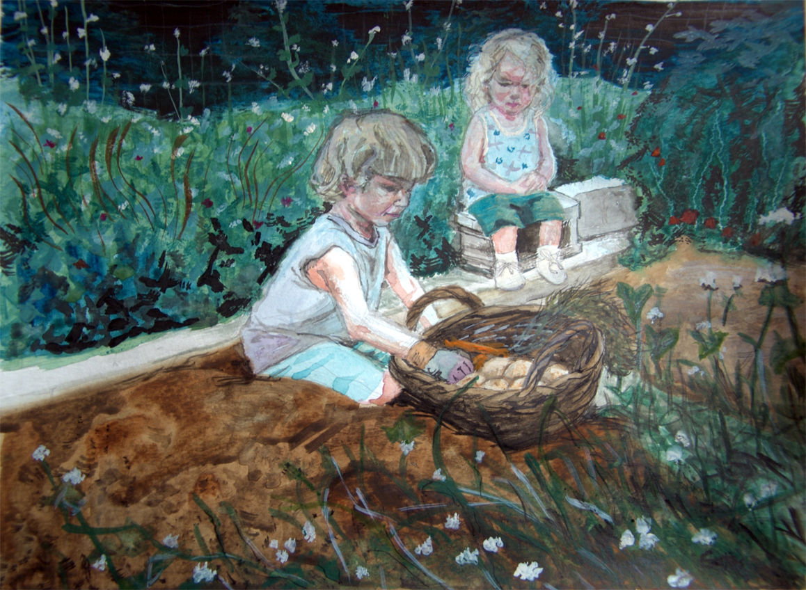 """Children at Harvest"" - watercolor"