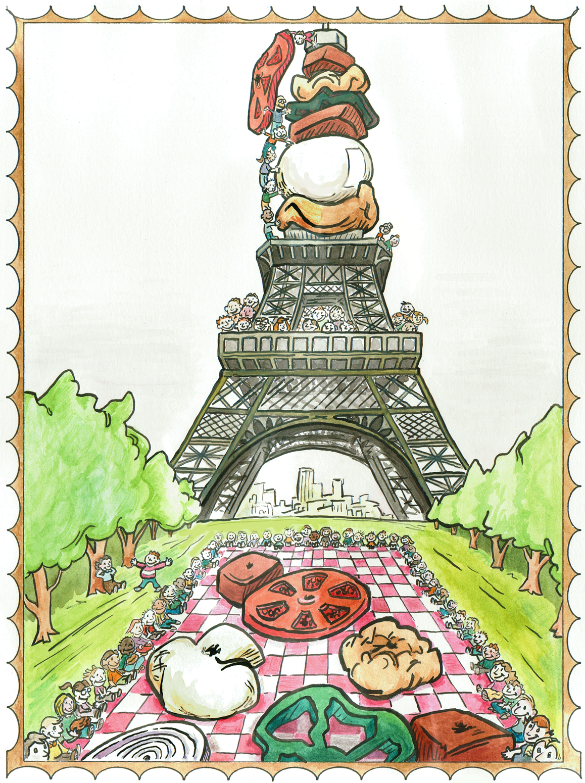 """Picnic in Paris"" - watercolor with ink"