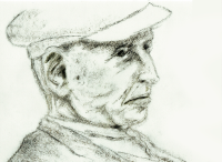 """Old Man with Cap"" - charcoal"
