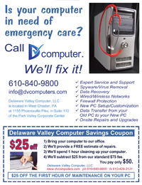 Delaware Valley Computer coupon ad