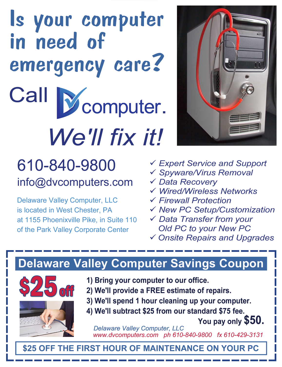 Delaware Valley Computer newspaper ad